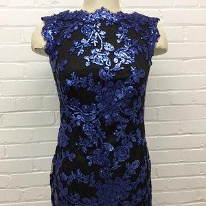 Tadashi Shoji Blue Sequin Sleeveless Dress Size 2